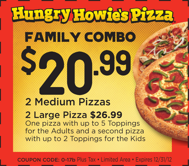 At the time, Steve Jackson delivered pizzas for Hearn. Over the years, their partnership would evolve into what Hungry Howie's is today. Check out our 50 Hungry Howie's Pizza coupons, including 36 Hungry Howie's Pizza promo codes & 14 deals. Today's top Hungry Howie's Pizza promo code: 51% Off Any Howie Bread with Any Order $12+.