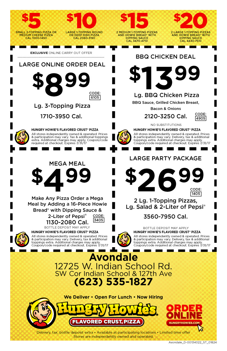 Hungry Howies 5 10 15 Deals Lamoureph Blog