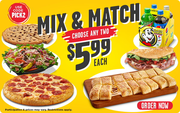 Mix & Match, pick 2 items for $5.99 each. Use code pick2