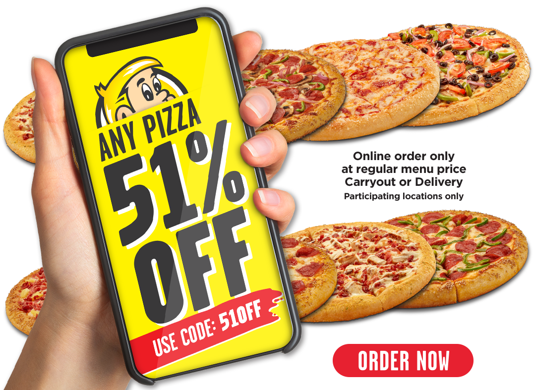 51% off any pizza at regular price. Online order only.