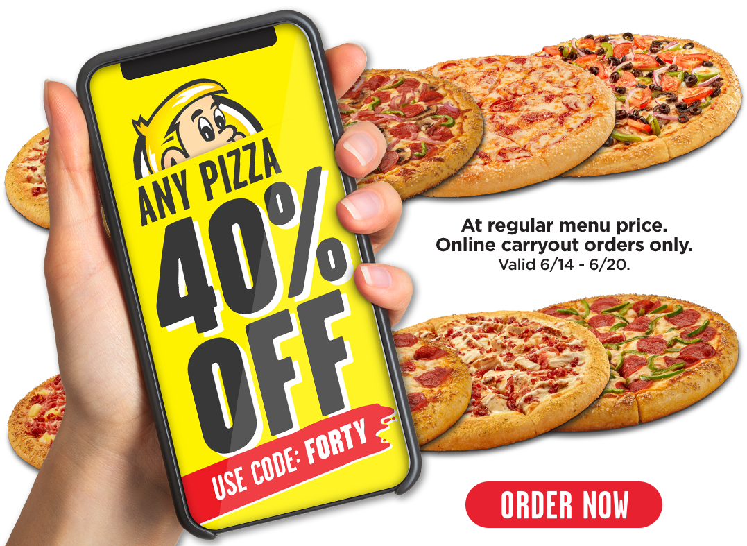 Any pizza 40% off at regular menu price. Carryout online orders only. Valid 6/14-6/20.